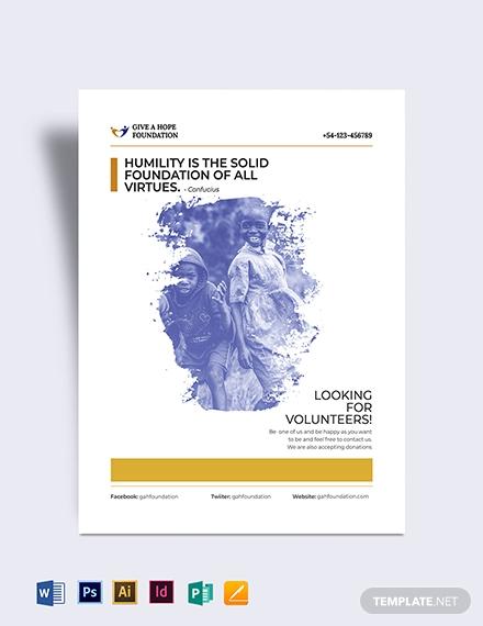 simple volunteer charity flyer template