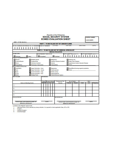 social security evaluation sheet