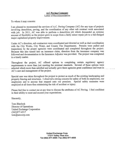 standard company reference letter