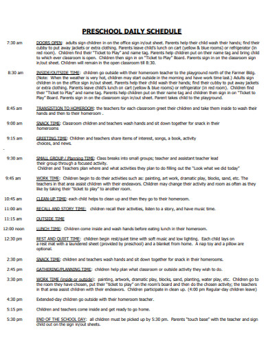 standard preschool daily schedule