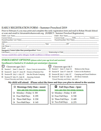 standard preschool registration form
