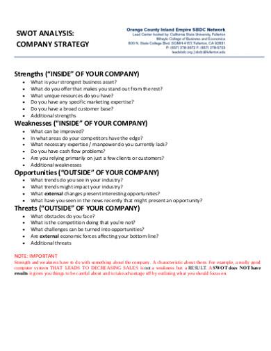 strategy company swot analysis