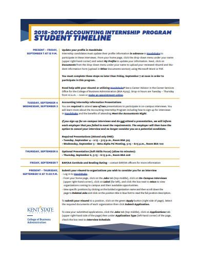 student internship program timeline