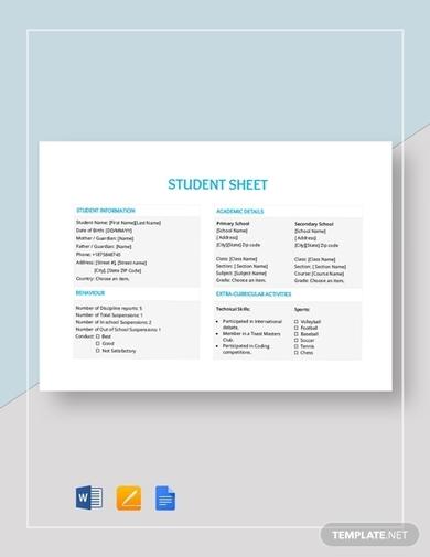 student sheet