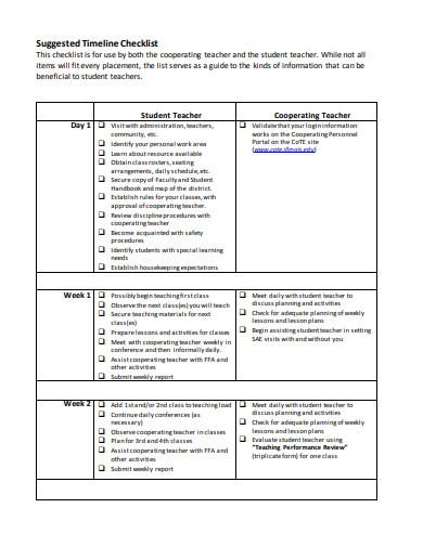 student timeline checklist