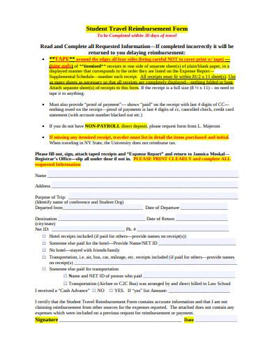 student travel reimbursement form