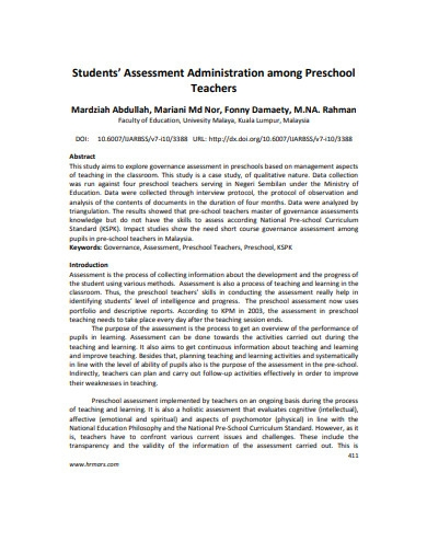 students assessment preschool