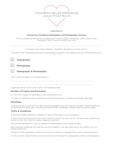 stylish contract for wedding videography