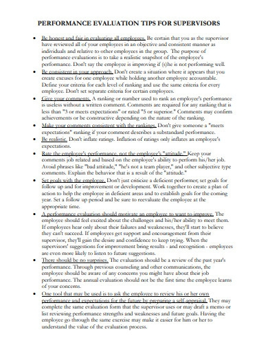 supervisors performance evaluation tips in pdf