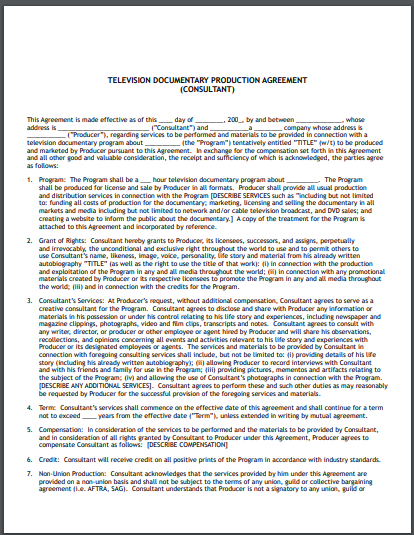 television documentary production services agreement