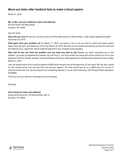 tenant move out letter after landlord fails to make critical repairs