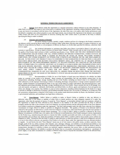terms for sales agreement