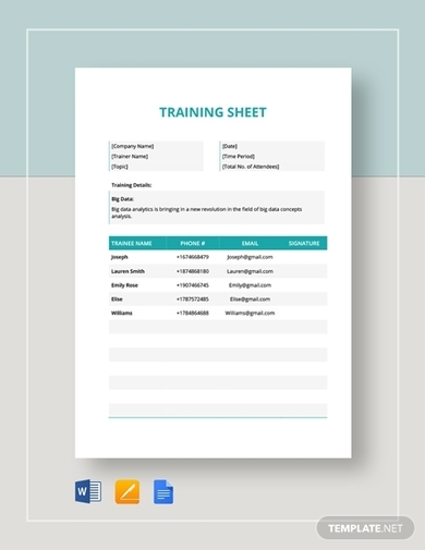training sheet