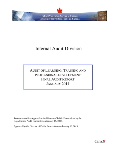 training and development audit report
