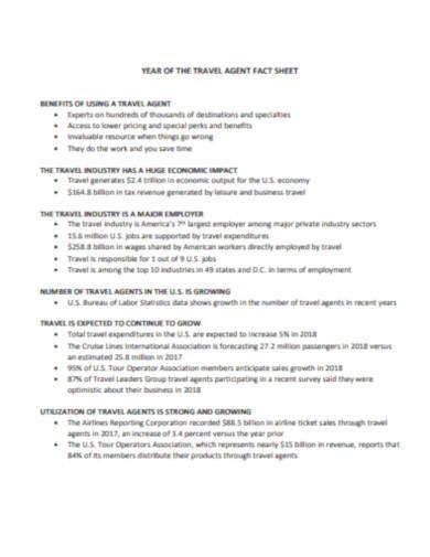 travel agent fact sheet