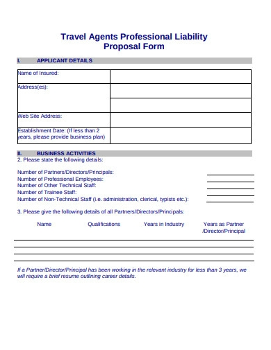 travel agents professional liability proposal form