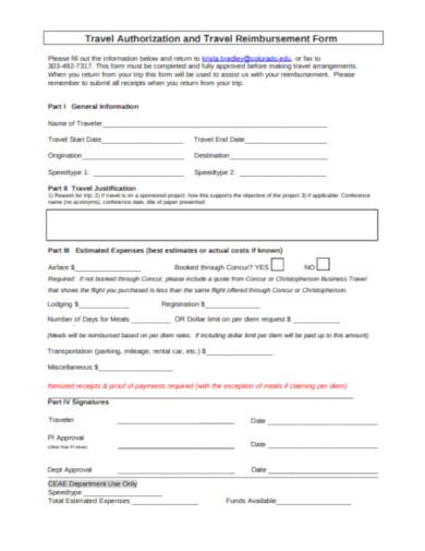 travel authorization and travel reimbursement form