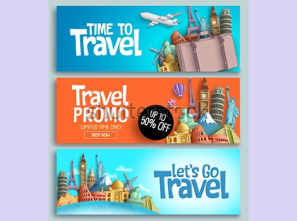 travel banner design set