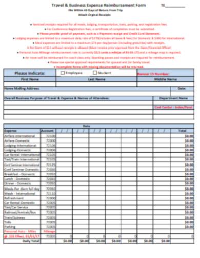 travel business expense reimbursement form