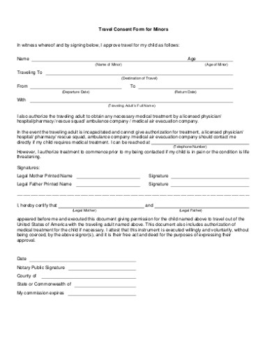 travel consent form for minors