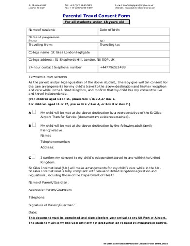 travel consent forms examples