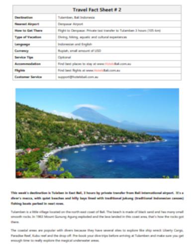 travel fact sheet in pdf