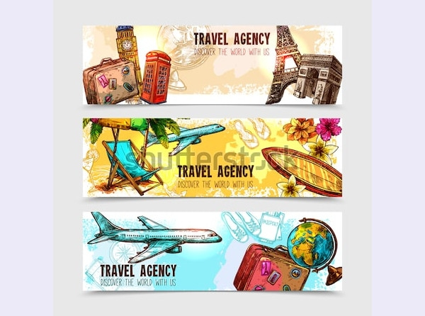 travel horizontal banner set