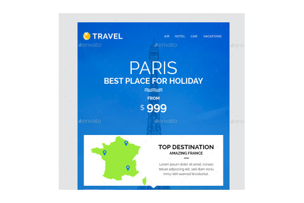 travel hotel e newsletter psd