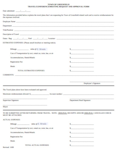 travel meeting request approval form