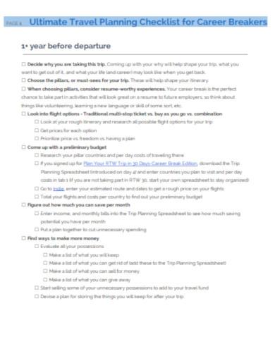 travel planning check list for career