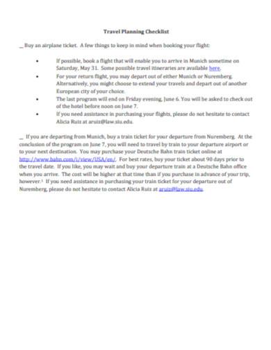 travel planning checklist example