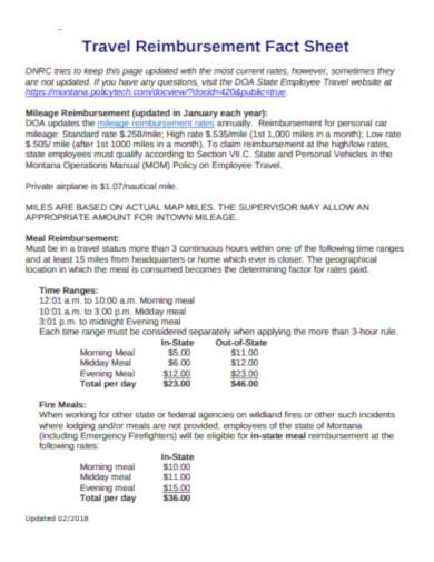 travel reimbursement fact sheet