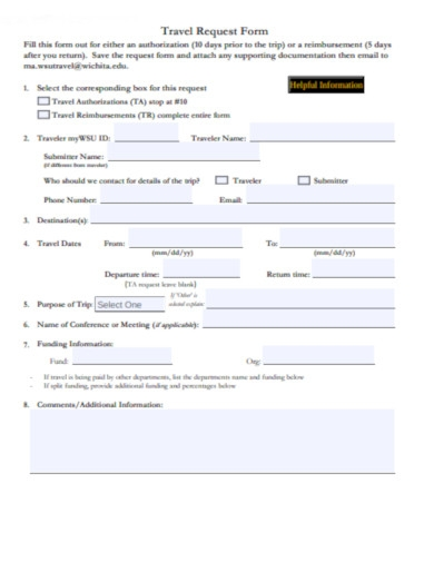 travel request form