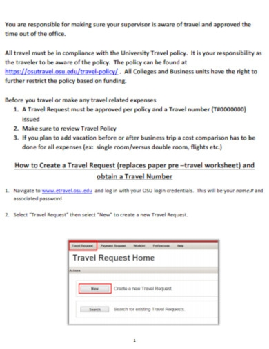 travel requests process form