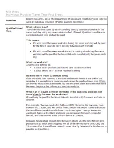 travel time fact sheet