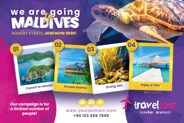 travel tours postcard templates