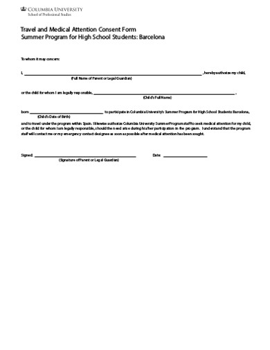 travel and medical attention consent form