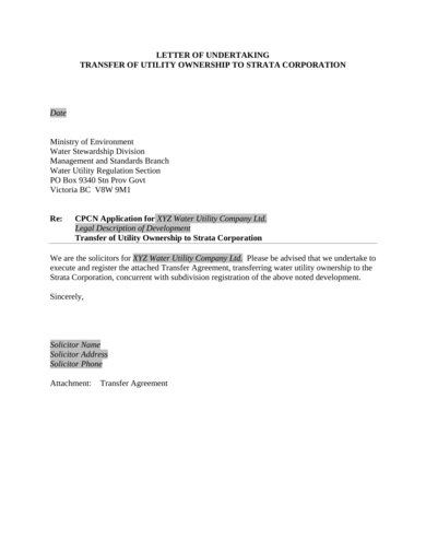 utility ownership transfer letter