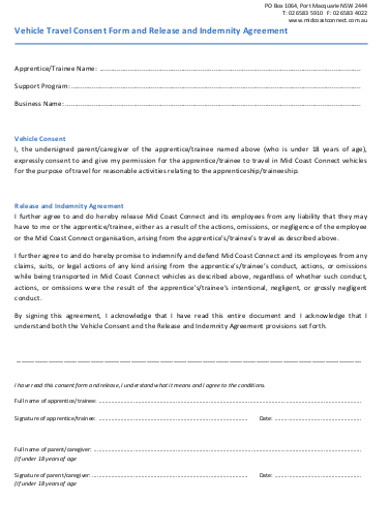 vehicle travel consent form