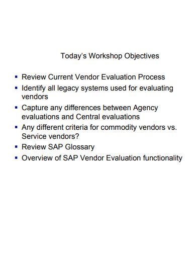 vendor evaluation example presantation