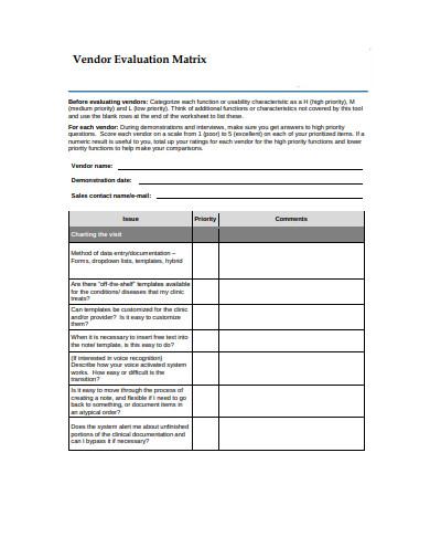 vendor evaluation matrix template