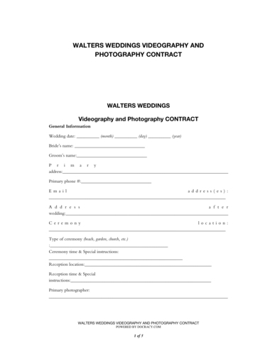 videography and photography contract