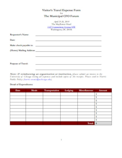 visitor's travel expense form