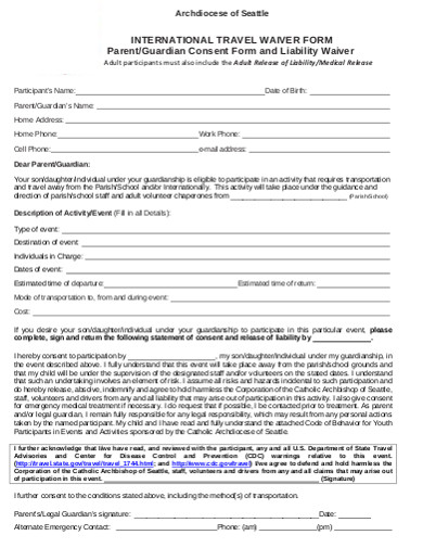 waiver travel consent form