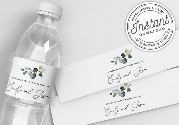 watercolor wedding water bottle label