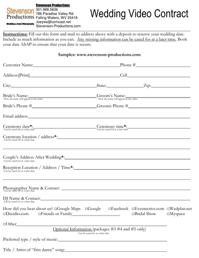wedding video contract