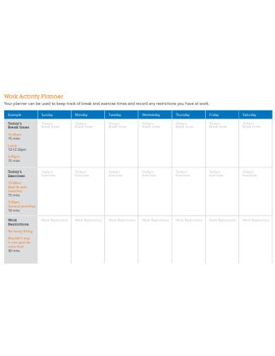 work activity planner
