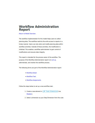 workflow administration report