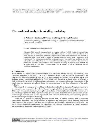 workload analysis in welding workshop