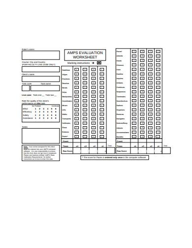 worksheet marking evaluation instructions